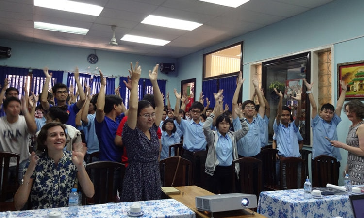 Two filmmakers receive applause from the HCMC Deaf Culture Club