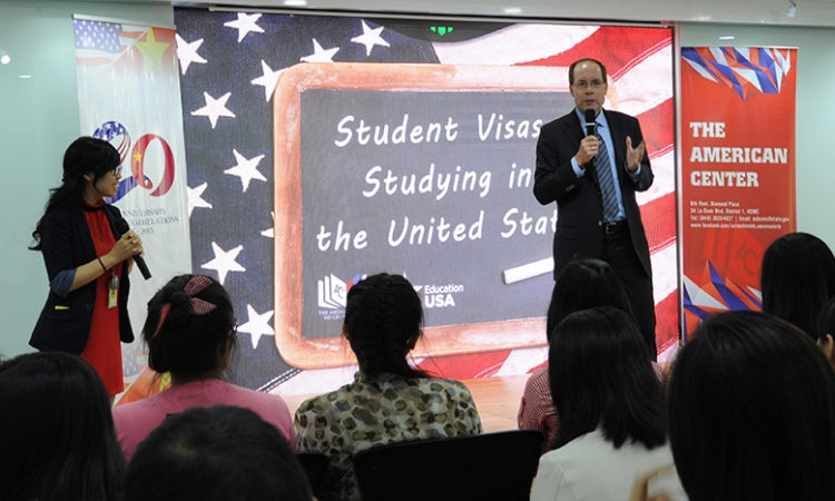 "Mr. David Donahue gives an overview on U.S. Education and kicks off the program ""Student Visas and Studying in the U.S."""
