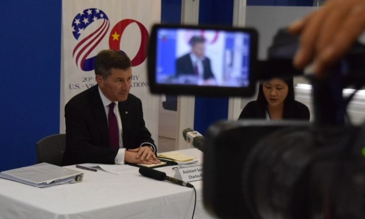 Assistant Secretary Rivkin speaking to media at the American Center
