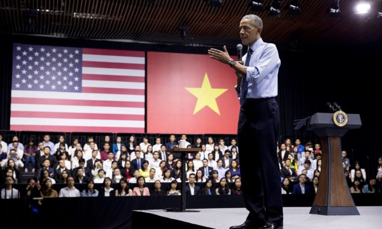 President Obama giving advice to young Southeast Asian leaders during a town hall in Ho Chi Minh: