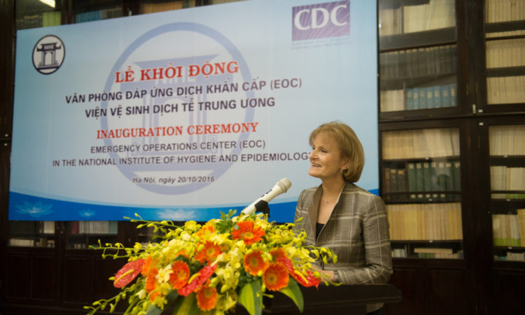 Deputy Secretary of Health and Human Services Mary Wakefield notes the importance of U.S.-Vietnam health cooperation at the NIHE EOC inauguration.