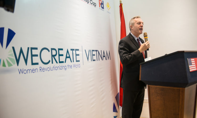 Ambassador Osius stresses the importance of women's entrepreneurship at the launch of WECREATE Vietnam.