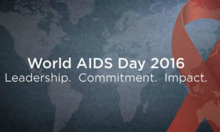 A red ribbon -- the universal symbol of awareness and support for those living with HIV -- overlays an image of a world map. [PEPFAR Image]