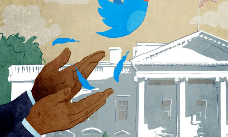 Illustration of hands releasing Twitter bird; White House in background (State Dept./Doug Thompson)