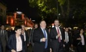 U.S. Secretary of State Mike Pompeo taking a walk around Hoan Kiem Lake in Hanoi on July 8, 2018 during his two-day visit to Vietnam.