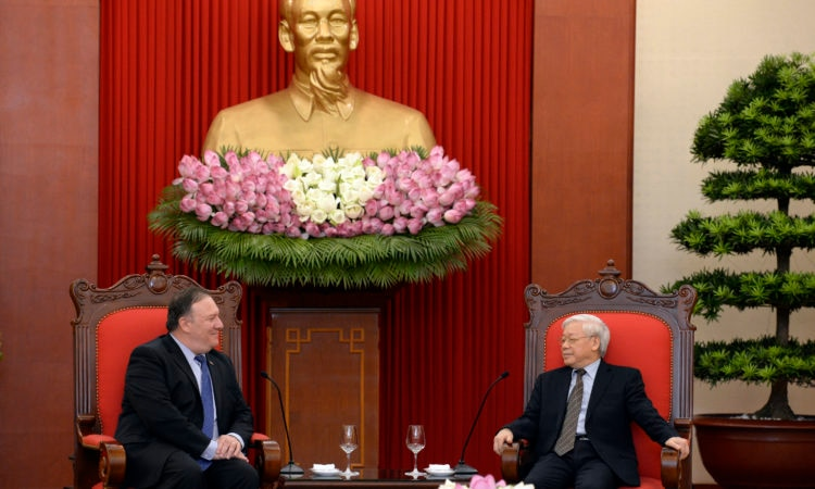 U.S. Secretary of State Michael R. Pompeo meets with General Secretary of the Communist Party of Vietnam Nguyễn Phú Trọng in Hanoi, Vietnam on July 8, 2018.
