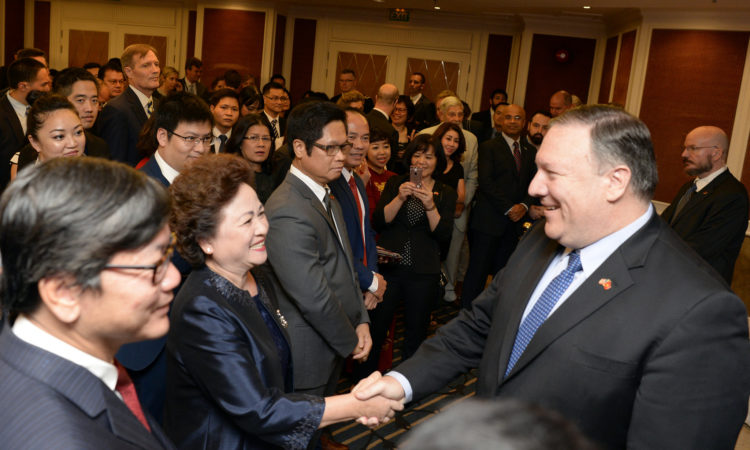 U.S. Secretary of State Michael R. Pompeo at a reception with seventy-five members of the Vietnamese business community on July 8, 2018 in Hanoi, Vietnam.