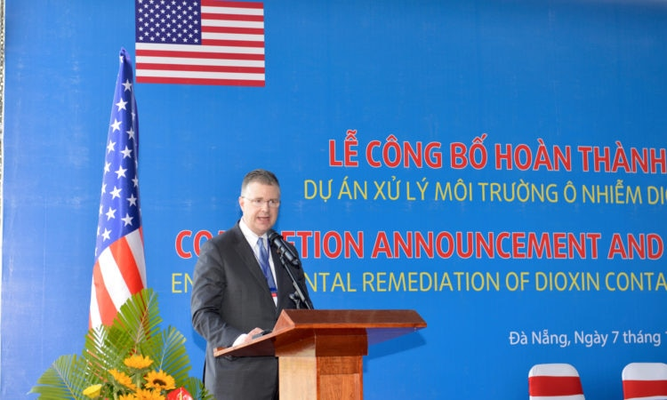 U.S. Ambassador to Vietnam Daniel J. Kritenbrink speaks at the event.