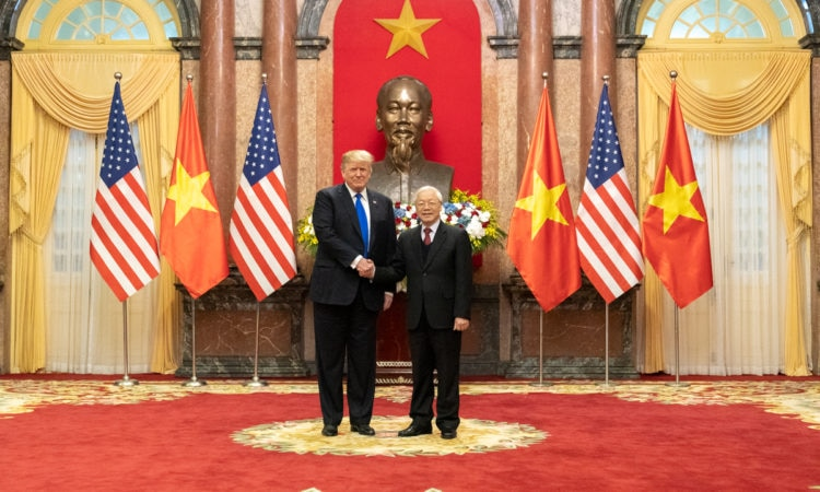 President Donald J. Trump and Nguyen Phu Trong, General Secretary of the Communist Party and President of the Socialist Republic of Vietnam, participate in a photo opportunity in the Mirror Room of the Presidential Palace Wednesday, Feb. 27, 2019, in Hanoi. (Official White House Photo by Shealah Craighead)