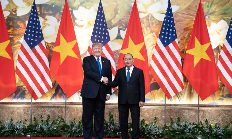 President Donald J. Trump and Nguyen Xuan Phuc, Prime Minister of the Socialist Republic of Vietnam, participate in a photo opportunity in the main foyer of the Office of Government Hall Wednesday, Feb. 27, 2019, in Hanoi. (Official White House Photo by Shealah Craighead)