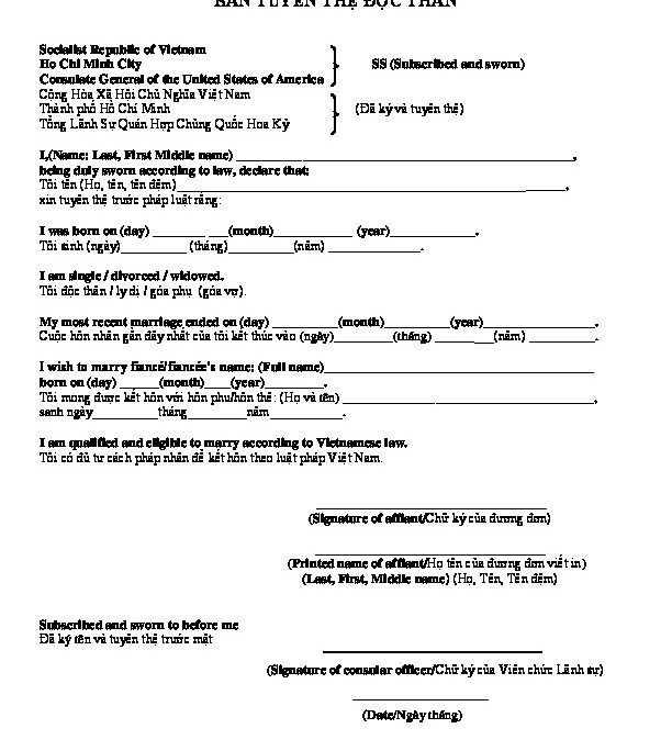 Blank And Sample Affidavit Of Single Status For Marriage In