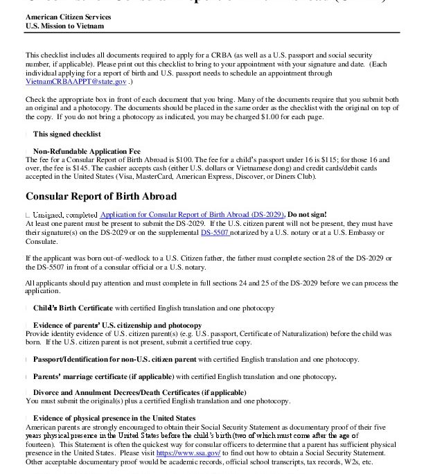 Crba Checklist Us Embassy Consulate In Vietnam