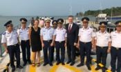 U.S. Ambassador Daniel Kritenbrink, Lieutenant General Nguyen Quang Dam - Commander of Vietnam Coast Guard, Vice Admiral Fred M. Midgette, Commander for U.S. Coast Guard, U.S. Consul General Mary Tarnowka and Vietnamese officials in Phu Quoc on March 28