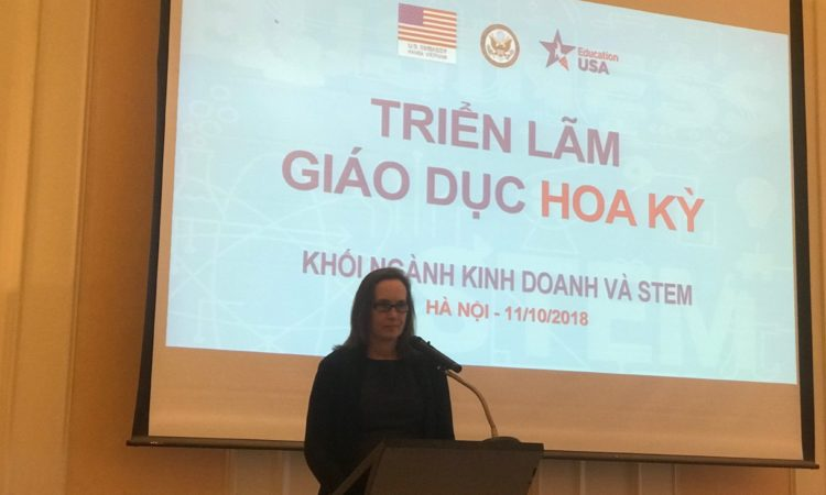 U.S. Deputy Chief of Mission Caryn R. McClelland delivered opening remarks at the EducationUSA Business and STEM Programs Fair.