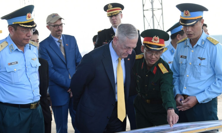 U.S. Secretary of Defense James Mattis visiting the Bien Hoa Airbase